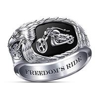 New Hip Hop Большие кольца для мужчин Rock Style Viking Индия Steampumk Серебро Цвет ковбой Мотоцикл Модные аксессуары подарки ювелирные изделия