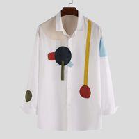 Erkek Baskılı Gömlek Moda Uzun Kollu Rahat Patchwork Chic Hawaii Gömlek Erkekler Yaka Streetwear S-5XL