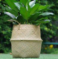 Ins Organizer Woven Cesta Pot Jardim Flor Vaso Vaso Barriga para Armazenamento Cobertura de Pot Fábrica Cesta de Decoração Home KKA7954-1
