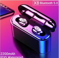 모든 전화를위한 2200mAh 전원 은행과 newTWS X8 진정한 무선 이어폰 블루투스 이어폰 미니 TWS는 방수 Headfrees