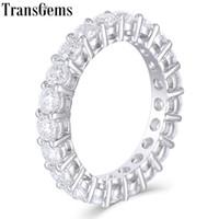 Transgems Katı 14 k 585 Beyaz Altın Mozanit Pırlanta Eternity Düğün Band Nişan Yıldönümü Yüzük Kadınlar Için Y19061203