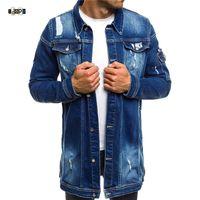 IDOPY Fashion Mens Lunghi Giacche Denim Cappotti strappati Distressed Slim Fit Jeans Giacche Casual Jean Giacca Cappotto per maschio
