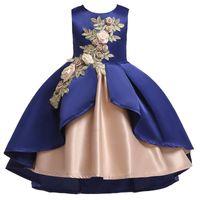 Nova flor pageant dress crianças roupas crianças vestidos de festa vestidos de festa por atacado de casamento bordado