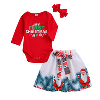 Retail Baby Girl Christmas outfits 3pcs Set Long Sleeve lett...