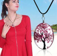 Time Gems Сухой Цветок Кулон Ожерелье Симпатичные Forever Цветок Кулон Ожерелье Жизни дерево Веревка Chian Шарм Женщины Ювелирные Изделия 10 Цветов EEA204
