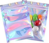 100 шт. Безваняемые запаха Доживка пакеты Фольга мешок сумка плоский лазерный цвет упаковочный пакет для вечеринки одобрение пищевой хранения голографический цвет