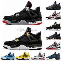Newest Bred 4 4s What The Cactus Jack Laser Wings Mens Scarpe da basket Denim Blue Tattoo Pale Citron Uomo Sport Designer Sneakers Sneaker