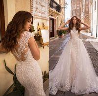 Bohemian lace Wedding Dresses with Detachable Train Sheer Back Sleeveless Lace Appliqued Bridal Gown Beach Vestido de Novia