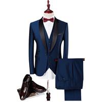 Último diseño A medida Guapos trajes de boda Trajes de esmoquin Slim Fit Novios Trajes formales trajes de padrino de soltero de solapa chal (chaqueta + pantalones + chaleco)