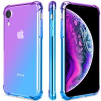 IPhone XS X 8 Durumda Temizle Sevimli Degrade Ince Anti Scratch TPU Telefon Kılıfı Kapak Takviyeli Köşeler darbeye Koruyucu Kılıf