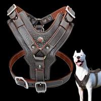 Perro del arnés de cuero genuino para la manija del chaleco de entrenamiento con control rápido grande perros mascotas ajustable para Labrador Pitbull K9