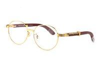 Lüks Beyaz Buffalo Boynuz Gözlük Metal Çerçeveleri Gerçek Ahşap Marka Tasarımcısı Güneş Gözlüğü Erkekler Için Markalar Vintage Yuvarlak Ahşap Gözlük Kırmızı Kutusu