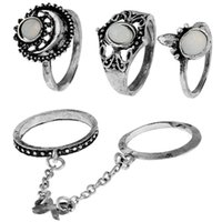 Bohemian Lady Set Ring Fashion Finger Tip Ring Set Ornament ...