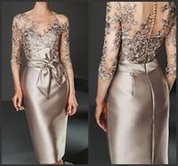 Champagne Lace Appliqued Bainha Mãe do vestido da noiva mais tamanho 3/4 mangas compridas da joelho Mãe formal vestido de convidado do casamento