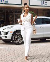 Kadın Yaz Modası İnce İki adet Ofis Lady Blazer İş Suit Set Beyaz Kadınlar Suits uyacak Çalışma Etek / Pantolon, Yelek Ceket