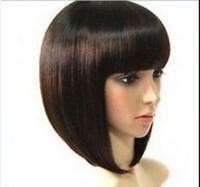 Perruque LL Chaude résistant à la chaleur Party HairNew Fashion Short Straight Brown Bob avec une frange complète Perruques Cheveux Dame