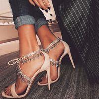 Hot femmes Vente-doux talons en strass lacer sandales frange cristal embelli femmes chaussures pompes dame
