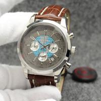 도매 트랜스 오션 클래식 남성 시계 44MM 석영 크로노 그래프 날짜 남성은 우수한 Wrtistwatches 그레이 브라운 가죽 스트랩 다이얼 시계