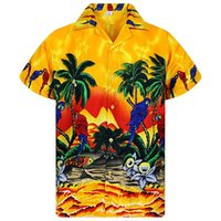 Гавайи Мужская Пляжная Рубашка Лето Повседневная Печатных Дизайнер Повседневные Рубашки С Коротким Рукавом Однобортный Топы