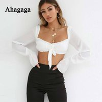 Ahagaga 2019 Spring Tees T Shirt Women Tops Fashion Solid Wh...