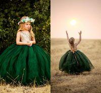 Glitz Tutu 에메랄드 그린 플라워 여자 드레스 2021 홀터 백리스 골드 스팽글 탑 얇은 명주 그주 국가 긴 싼 아이들 첫 번째 친교 드레스
