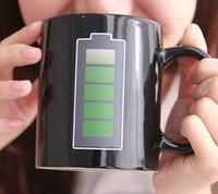 Batterie-Magie-Becher Positive Energie Farbwechsel Cup Keramik Verfärbungs Kaffee Tee Milch Tassen Kuriose Geschenke Promotion