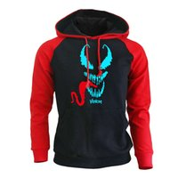 Fashion Luminous Venom Printed Casual Raglan Hoodies Rock Sp...