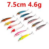 12 cores 7,5 centímetros 4,6 g Minnow Fishing Hooks anzóis 6 # gancho rígido Iscas Lures b-004