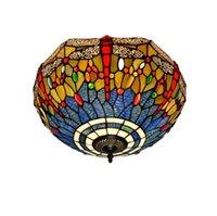 مصباح السقف الأوروبي تيفاني اليعسوب نوم شرفة مصباح السقف الزجاج الملون إضاءة الزجاج مدخل مصباح