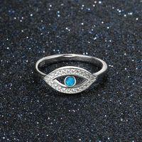 Kristall Blau Opal Türkei Evil Eyes Ringe für Frauen Legierung Silber Religiöse Schmuck Schönes Geschenk Mode Evil Eyes Fingerringe