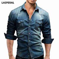 LASPERAL Denim Gömlek Erkekler Pocket Uzun Kollu Slim Fit Pamuk Elbise Gömlek Casual Erkek Gömlek Sonbahar Streetwear camisa masculina