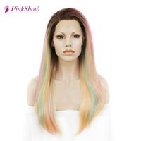 Pinkshow Rainbow Rosa Gelbe Perücke Gerade Synthetische Spitze Front Perücke Hitzebeständige Faser Glueless Perücken Für Frauen