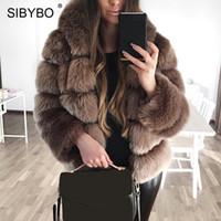 Sibybo с капюшоном толстым теплым зимним из искусственных шумов для женщин мода с длинным рукавом тонкий женские пальто 2018 EUREWWEAT PLUS Размер пальто самки