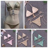 Mujeres Sexy 2 unids Bikini Ropa Interior Ropa de Baño de Verano Ropa de Playa Un Conjunto Sujetador Calzoncillos Lentejuelas de Piedra Ropa de Natación 3 colores