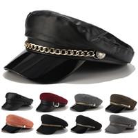 Moda Unisex PU Deri Kadın Erkek Siyah Gri düz üst Kadın seyahat Harbiyeli şapka Kaptan Cap İçin Askeri Şapka Sonbahar Sailor Şapkalar