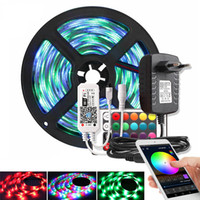 Música / Bluetooth / WiFi RGB LED Faixa de Luz 2835 DC 12V impermeável 5M 60 LEDs / m Fita Led Diodo Tape Power Adapter Controlador