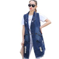 B2705 2019 new spring and autumn women fashion casual sleeveless denim vest cheap wholesale