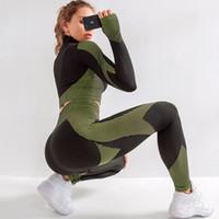 SALSPOR sans couture entraînement Ensembles de yoga Femmes Sport Gym imperrespirant Courir Vêtements femme fitness sport à manches longues de T200412