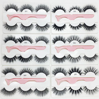 New 3 pairs of false eyelashes with tweezers 3D mink stereo ...