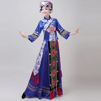 Etapa de Mongolia traje del funcionamiento de la ropa de la danza de la falda del vestido de Mongolia traje de la danza de la minoría popular ropa de la ropa