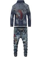 2020 최신 가을 겨울 패션 남성 2 종 세트 놓은 인도 펑크 스타일 긴 소매 슬림 데님 자켓 + 스트레치 청바지 세트