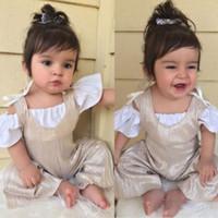 2018 nuevo verano muchachas de los cabritos arropa sistemas del bebé de la tapa blanca de la camiseta + Conjuntos general mameluco del mono niños 2pcs set