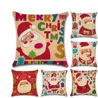 Joyeux Noël Père Noël Coussin Couverture De Noël Taie D'oreiller Décoratif Lin Coussin Taie D'oreiller Couverture VT0099