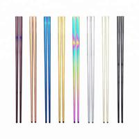 Metal Çubuklarını Gökkuşağı 304 Paslanmaz Çelik Sofra Çin Japon Kore Anti haşlanma Kullanımlık Ayna Çubuklarını Sofra