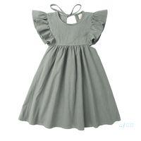귀여운 드레스 옷 아기 디자이너 옷 여자 드레스 여름 여자 솔리드 컬러 어린이 키즈 스커트 2 색 공주 드레스 판매 CZ429