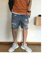 Short Jeans Hole Loose Solid Color Knee Length Straight Pant...