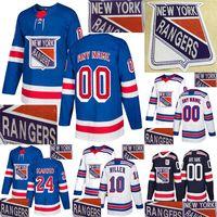 New York Rangers Quente Perfuração Jersey 10 Artemi Panarin 24 Kaapo Kakko 30 Henrik LundqVist Personalizar Qualquer Número Qualquer Nome Jerseys de Hóquei