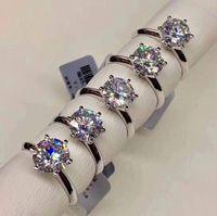 925 Plata Moissanite Certified Anillo Diamond Anillo Canon Classic 6 Claw Crown Design D / F Color VVS Clarity 3Ex Eternal Cut Shine