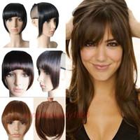 patlama saçak Saç uzantılarında Kısa Ön Temiz patlama Klip düz Yüksek Sıcaklık Sentetik% 100 Gerçek Doğal peruk 8 İnç