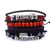 Wholesale Vintage Beads Leather Bracelets Set 4pcs set Men F...